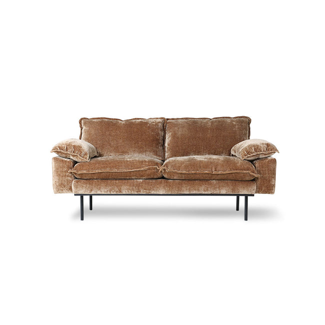 HK-Living Retro Sofa 2-Seats, Velvet Corduroy Aged Gold