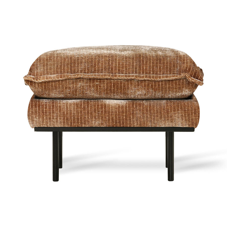 HK-Living Retro Sofa Stool- Velvet Corduroy Aged Gold