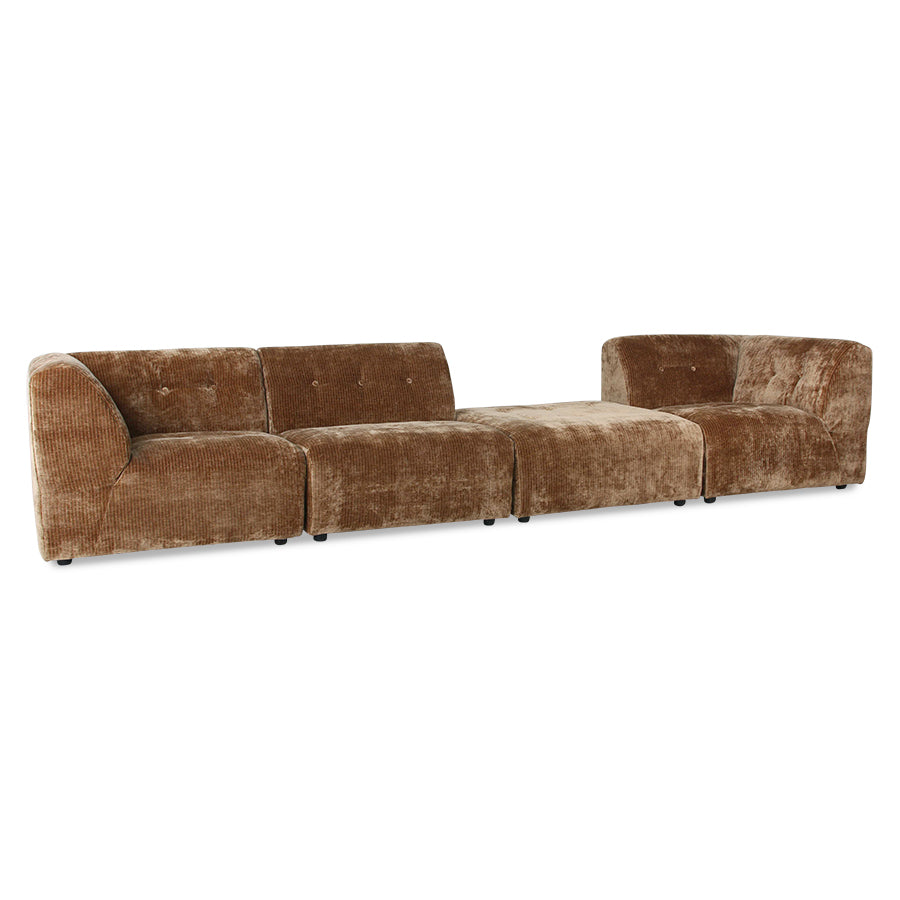 HK-Living Vint Couch: Element Middle Corduroy Velvet Aged Gold