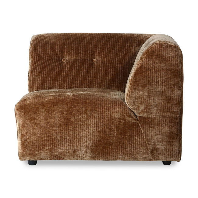 HK-Living Vint Couch: Element Right Corduroy Velvet Aged Gold