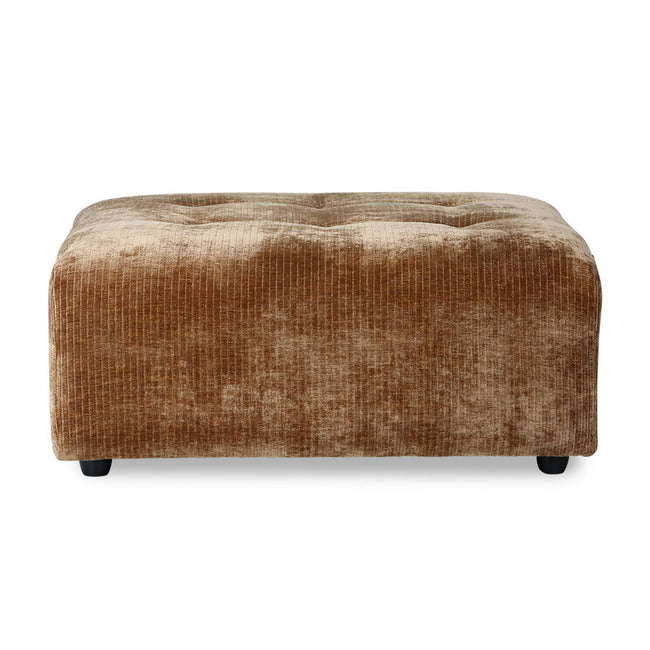 HK-Living Vint Couch: Element Hocker Corduroy Velvet Aged Gold
