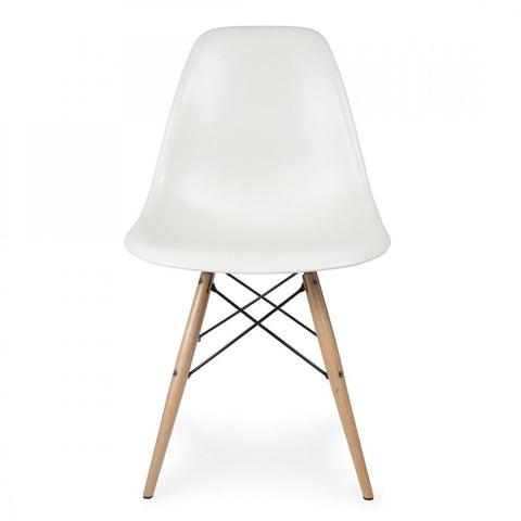 Charles Ray Eames Style DSW Side Chair White   Natural Legs