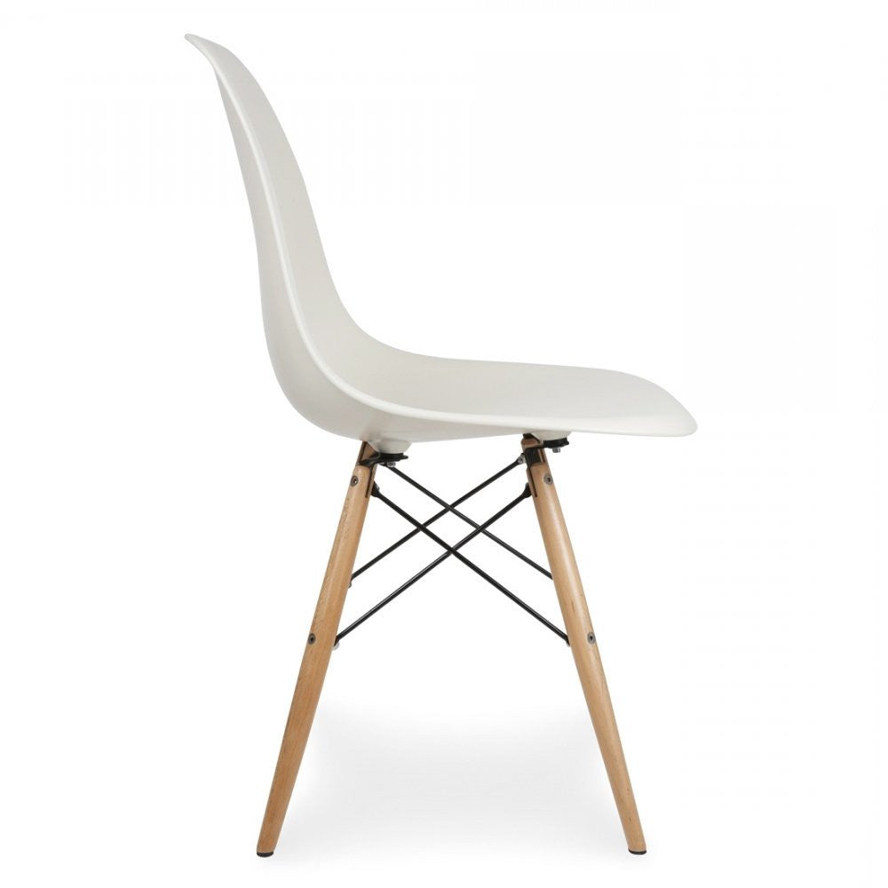 Charles Ray Eames Style DSW Side Chair  White - Natural Legs