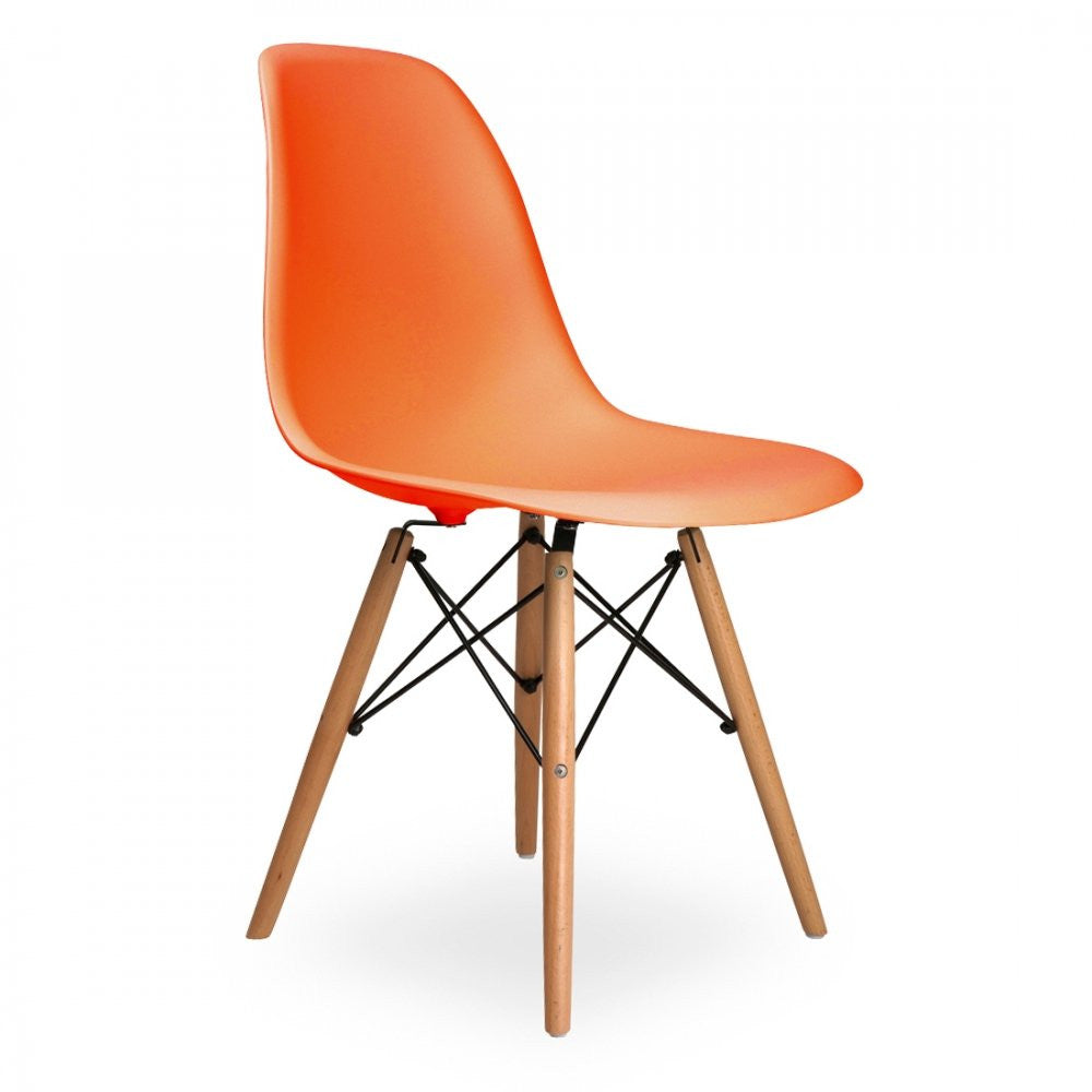 Charles Ray Eames Style DSW Side Chair  Orange - Natural Legs