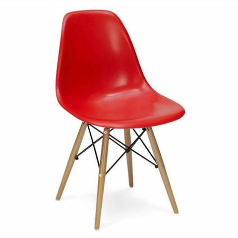 Etonnant ... Charles Ray Eames Style DSW Side Chair Red   Natural Legs ...