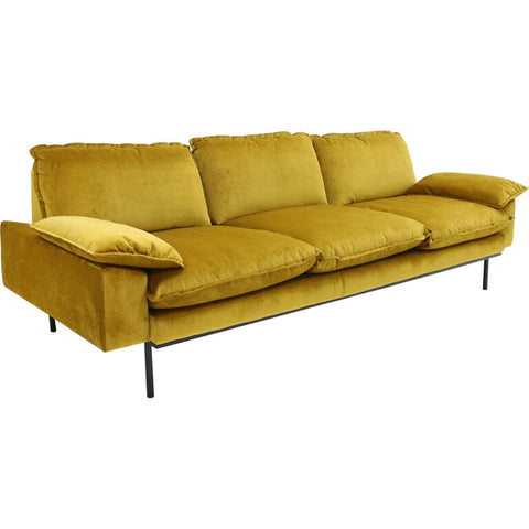 HK-Living Retro sofa 4-seater velvet ochre