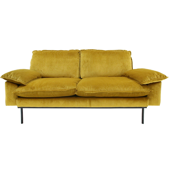 HK-Living Retro sofa 2-seater velvet ochre