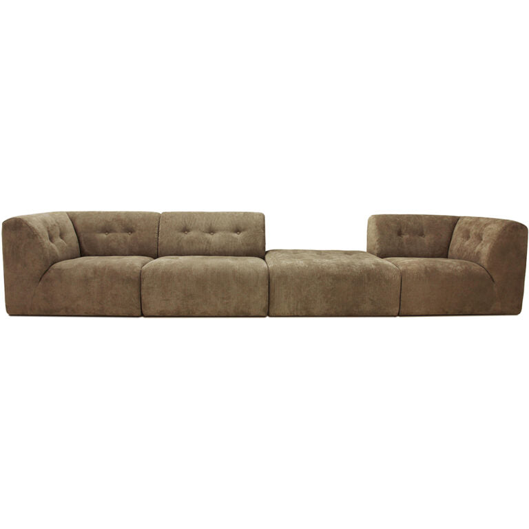 HK-Living vint couch: element middle, corduroy rib, brown