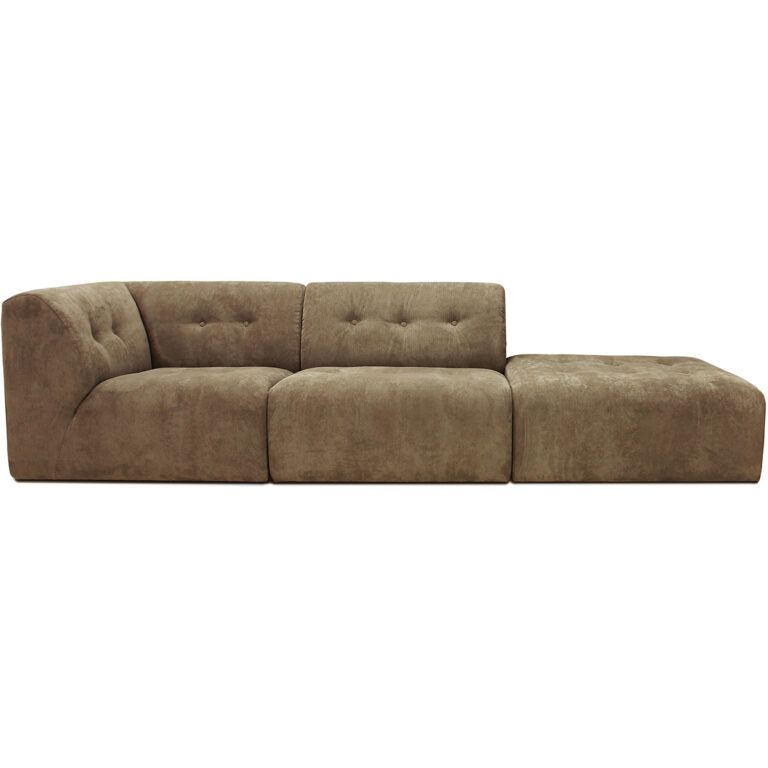 HK-Living vint couch: element left, corduroy rib, brown