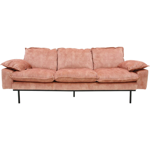 HK-Living Retro sofa 3-seater velvet old pink