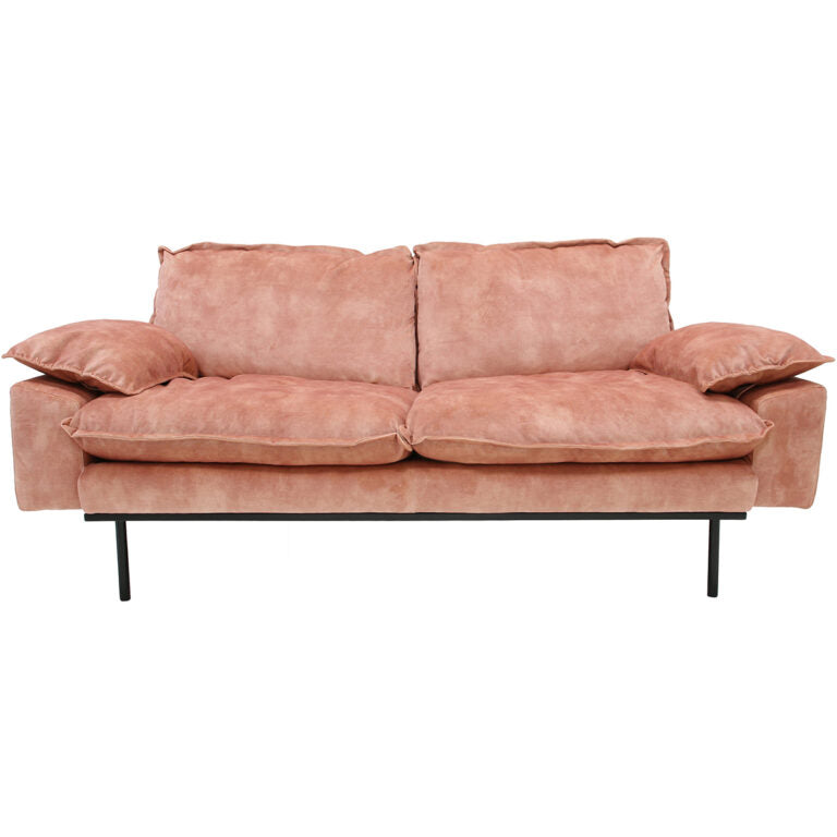 HK-Living Retro sofa 2-seater velvet old pink