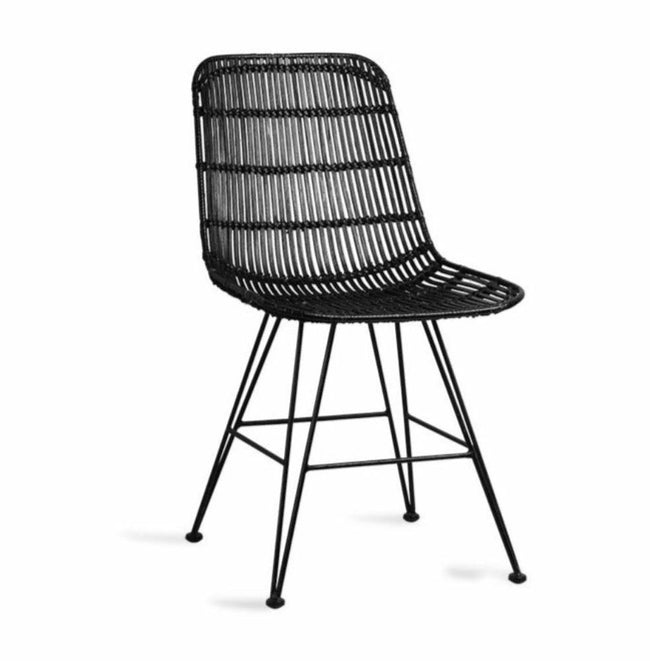 HK-Living rattan dining chair black