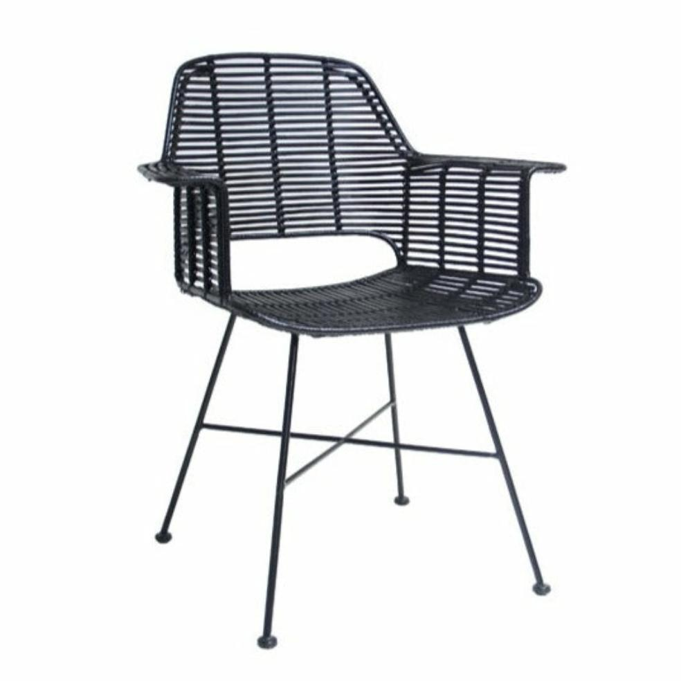 HK-Living Rattan tub chair black