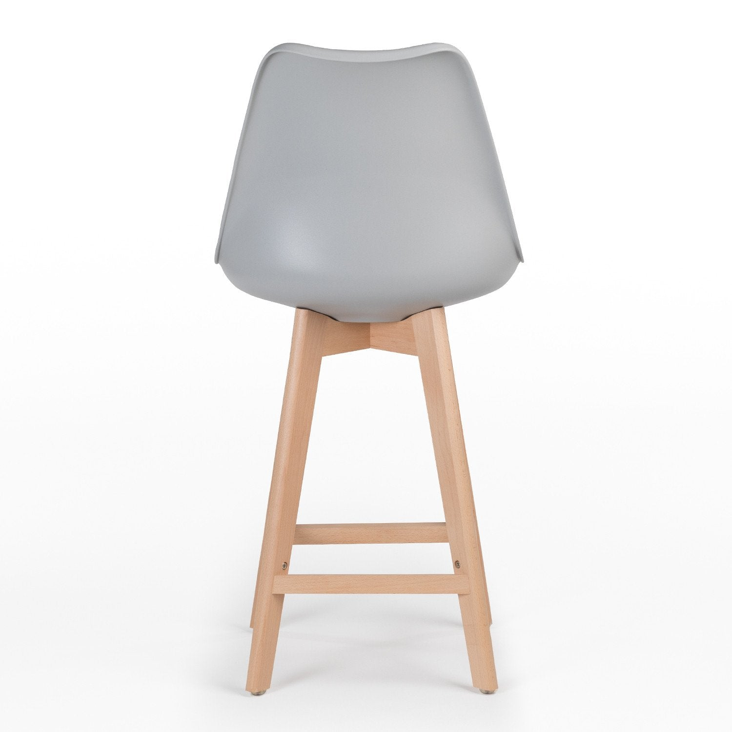Charles Ray Eames Style I- DSB Soft Coushion  Bar Stool Square Legs  - Light Grey
