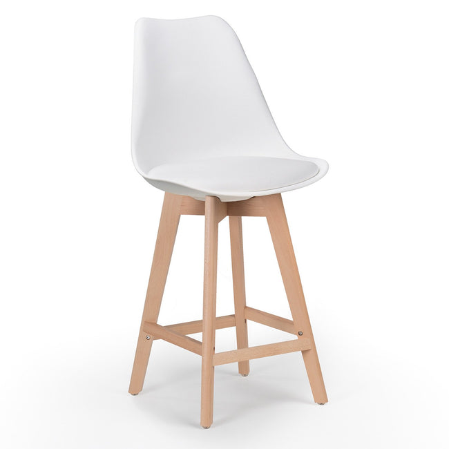 Charles Ray Eames Style I- DSB Soft Coushion  Bar Stool Square Legs  - White
