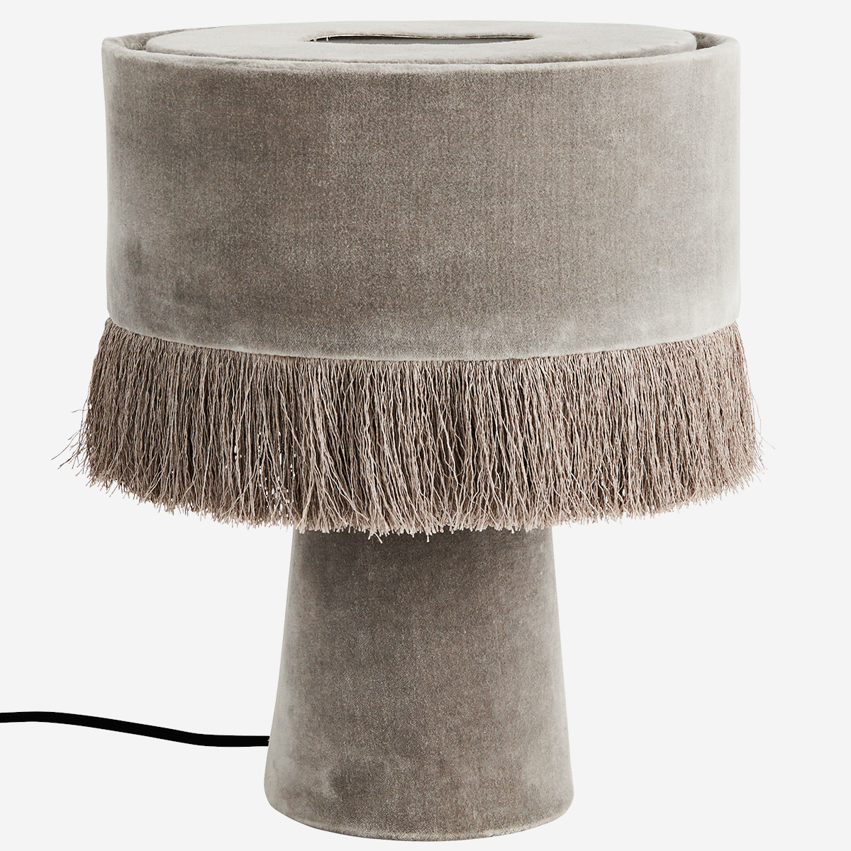 Velvet Table Lamp Grey - Madam Stoltz