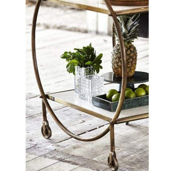 White Marble And Brass Circular Trolley - Madam Stoltz