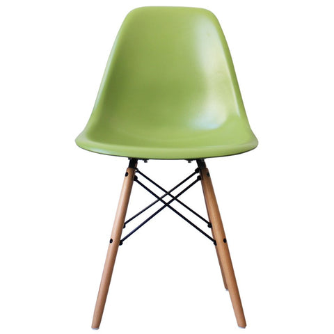 Charles Ray Eames Style DSW Side Chair Green   Natural Legs