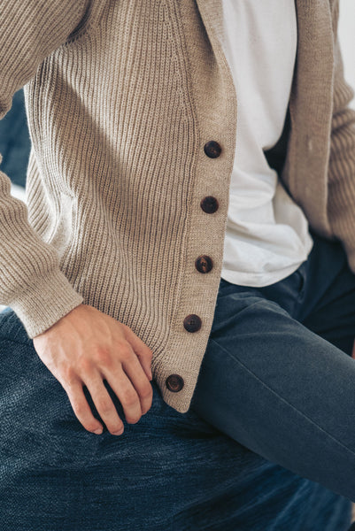 Shawl Collar Cardigan - Beige - Man