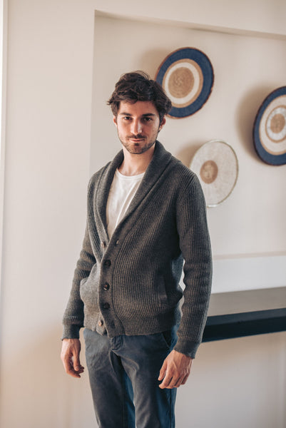 Shawl Collar Cardigan - Grey - Man
