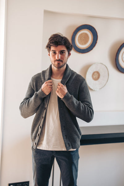 Shawl Collar Cardigan - Grey - Man - Perús