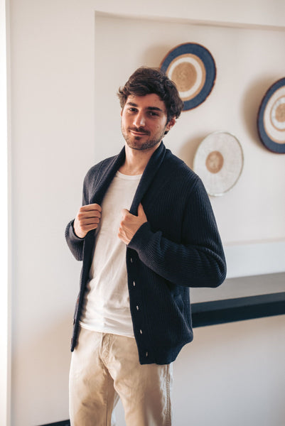 Shawl Collar Cardigan - Navy Blue - Man - Perús