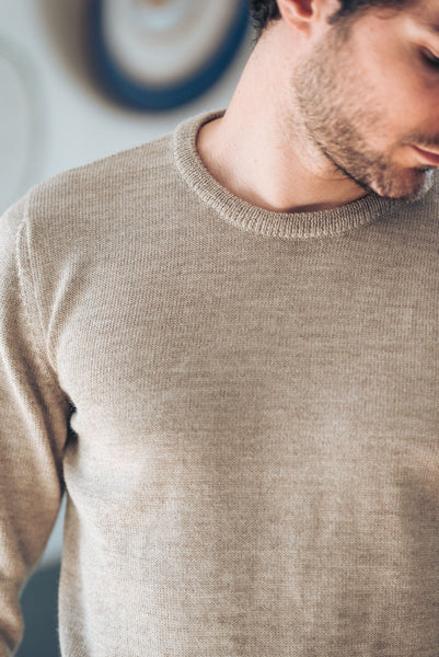 Round Neck - Beige - Man