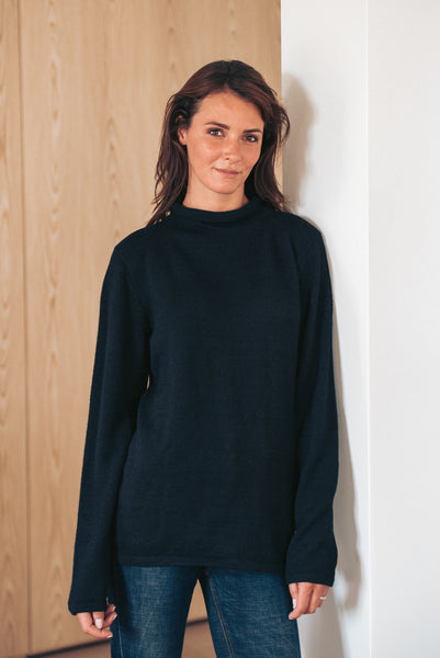 Roll Neck Sweater - Black - Woman