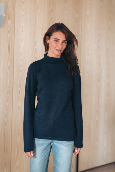 Roll Neck Sweater - Navy Blue - Woman