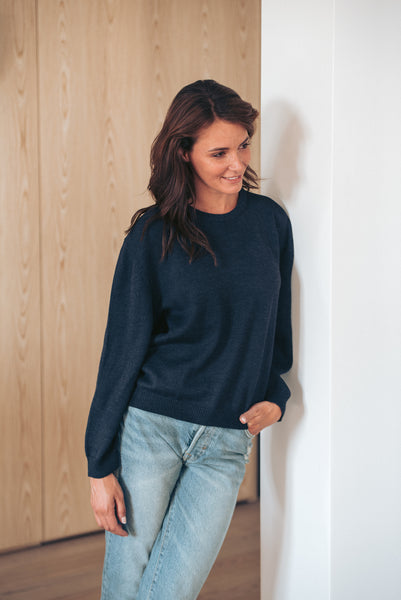 Round Neck - Navy Blue - Woman - Perús
