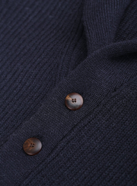 Shawl Collar Cardigan - Navy Blue - Man
