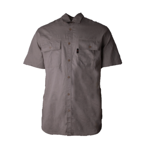 Wildebees Mens Casual Short Sleeve Vented Twill Shirt Khaki