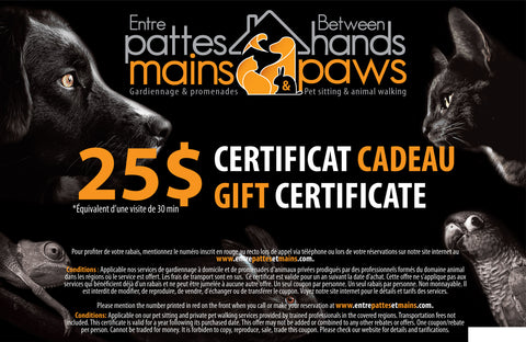 Entre pattes et mains - Certificat cadeau de 25 $ (taxes incluses) / Gift Certificate $25 (taxes included)
