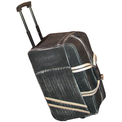 Scully Leather Track Collection Sanded Vintage Black Calfskin Wheeled Motorcycle Travel Bag