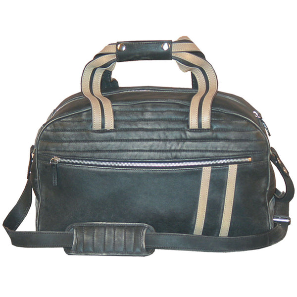 Scully Leather Track Collection Sanded Vintage Black Calfskin Motorcycle Duffle Carry-On Bag