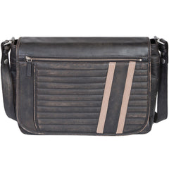 Scully Leather Track Collection Sanded Vintage Black Calfskin Crossbody Motorcycle Messenger Bag
