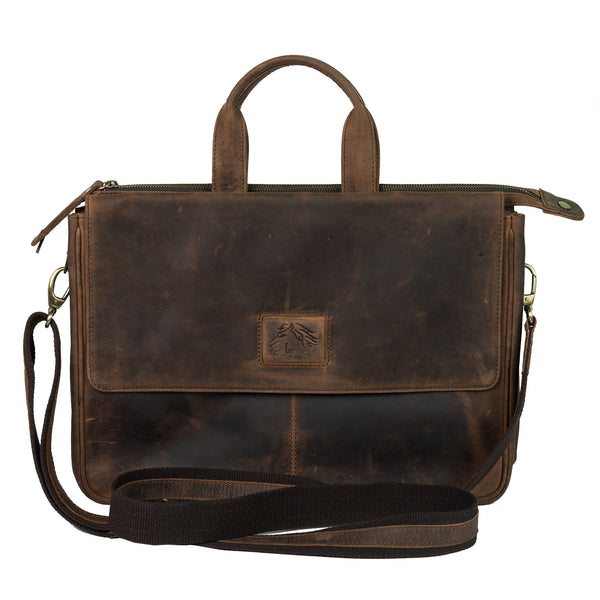 Harsha 13031-11 Ranchero brown vintage desperado leather double gusset briefcase front view