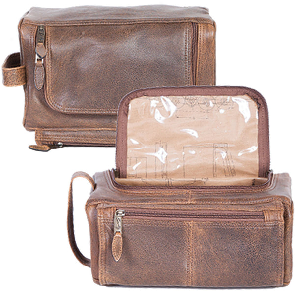 16f44cc047 Scully Leather 81st Aero Squadron Collection Walnut Brown Lambskin Shave Kit