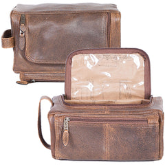 Scully Leather 81st Aero Squadron Collection Walnut Brown Lambskin Shave Kit