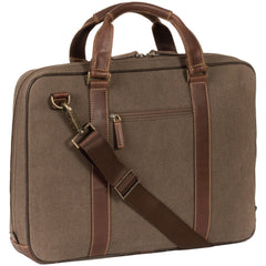 211-9717 Boconi Bryant LTE Lightweight Heather Brown Canvas and Leather Zipster Laptop Case