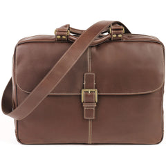 235-9517 Boconi Bryant Antiqued Mahogany Leather Analyst Bag