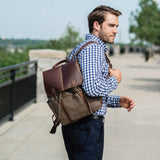 "238-9717 Boconi Heather Brown Lightweight Canvas Bryant LTE Rucksack with Leather Accents and Interior Pockets for iPad and 15"" Laptop"