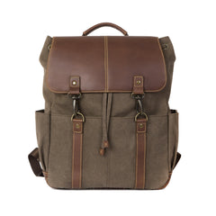"Boconi Heather Brown Lightweight Canvas Bryant LTE Rucksack with Leather Accents and Interior Pockets for iPad and 15"" Laptop"