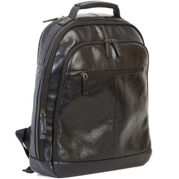 "248-6300 Boconi Becker Black Leather 17"" Laptop RFID CityPack Backpack"
