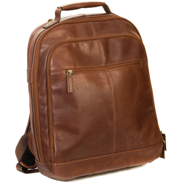 "248-6341 Boconi Becker Whiskey Brown Leather 17"" Laptop RFID CityPack Backpack"