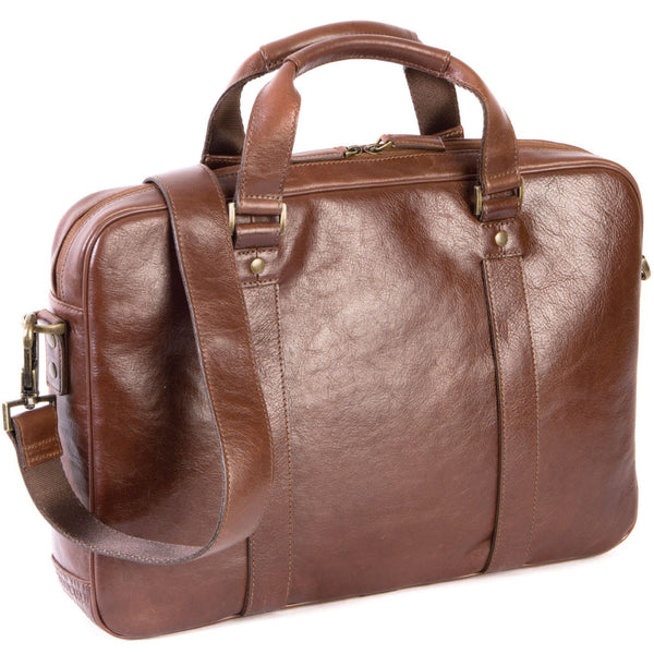 261-6341 Boconi Becker RFID Zip Brief Whiskey Brown Leather Briefcase