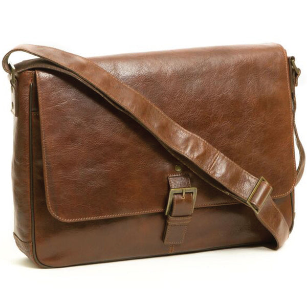 262-6341 Boconi Becker Whiskey Brown Leather 1-Buckle RFID Messenger Bag
