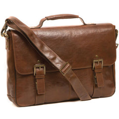 263-6341 Boconi Becker Whiskey Brown Leather RFID Flap Dispatch Briefcase