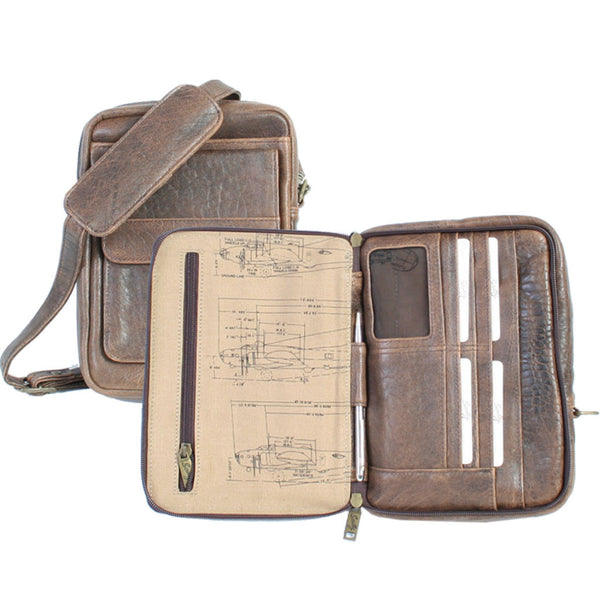 Scully Leather 81st Aero Squadron Collection Walnut Brown Lambskin Flight Officer's Satchel