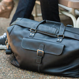 532-1107 Boconi Charcoal Black Tyler Tumbled Leather Cargo Duffle
